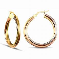 russian wedding ring earrings 9ct yellow white and rose gold russian wedding ring 3mm hoop earrings 29mm