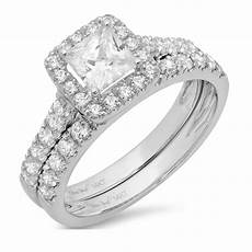 1 80ct princess cut solitaire halo engagement ring band 14k white gold ebay