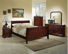 Wooden Sleigh Bed Bedroom Ideas by Rich Cherry Finish Classic 5 Pc Bedroom Set W Size Bed