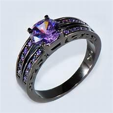 purple wedding rings size 6 10 purple amethyst cz wedding ring 10kt black gold filled s jewelry ebay