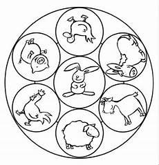 Ausmalbilder Bauernhof Mit Tieren Kostenlose Malvorlage Mandalas Mandala Mit Tieren Auf Dem