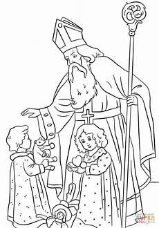 Ausmalbild Bischof Nikolaus St Nicholas Greets Children Coloring Page Free