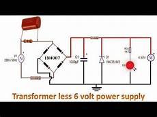 Transformerless 6 Volt Power Supply Circuit