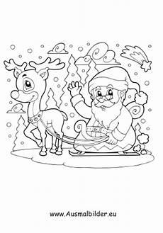 ausmalbild weihnachten rentier weihnachtsmann faehrt mit rentier schlitten weihnachten