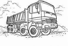 mercedes dump truck in semi truck coloring page