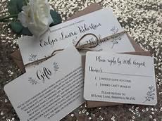 vintage rustic wedding invitation rsvp gift card sle ivory with kraft brown