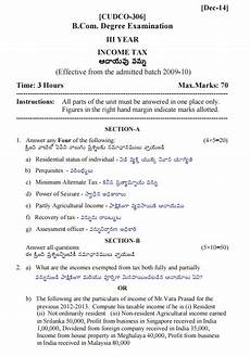 income tax b com iii year gitam university dec 2014