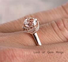 diamond halo ring 7mm morganite engagement ring wedding band 14k rose gold ebay