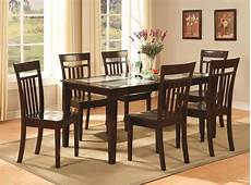 7 pc dinette kitchen dining room table with 6 chairs in cappuccino ebay