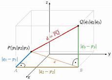abstand zweier punkte im raum ohne vektoren beispiele