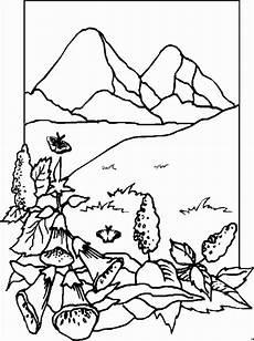 berge mit blumen ausmalbild malvorlage landschaften