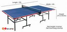 what is the official standard size of a ping pong table