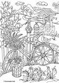 Country Spring  Bicycle Printable Adult Coloring Pages