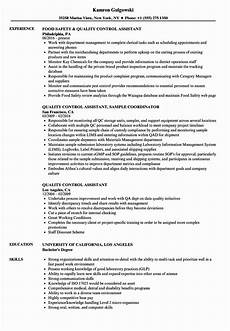 quality control resume exles lovely quality control assistant resume sles in 2020 sales