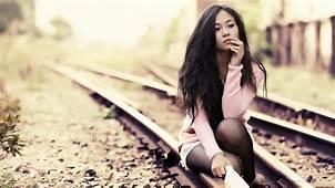 Women Model Brunette Long Hair Asian Outdoors Jean