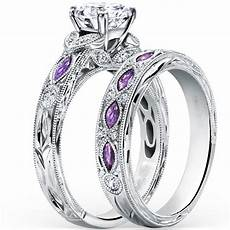 fashion design silver purple cubic zirconia wedding engagement bridal ring in rings from