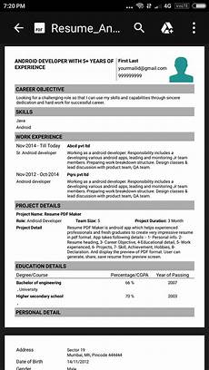 resume pdf maker for android apk download