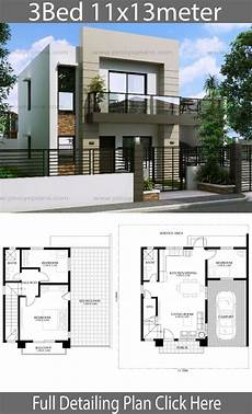 modern house floor plans philippines house design 11x13m with 3 bedrooms philippines house