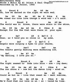 guitar songs with chords song lyrics with guitar chords for anniversary song al jolson 1946