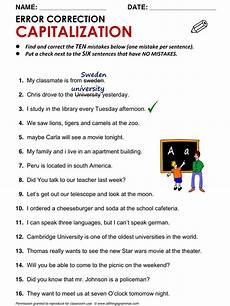 english grammar worksheet error correction capitalization