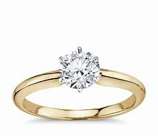 classic six prong solitaire engagement ring in 18k yellow
