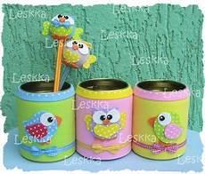 latas decoradas porta l 225 piz reciclaje latas recicladas manualidades con goma y