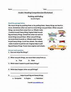 pushing and pulling second grade reading worksheets reading 2nd grade reading worksheets