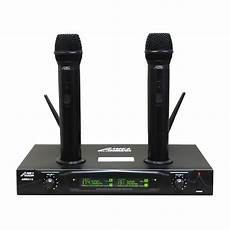 cordless microphone system audio 2000s awm6113 vhf dual channel mic rechargeable wireless microphone ebay