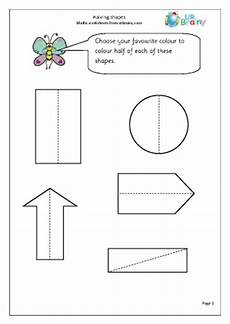 halving shapes worksheet eyfs 1106 halving shapes shape and measures maths worksheets for year 1 age 5 6