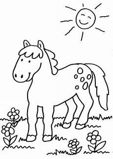 Schule Und Familie Ausmalbilder Pferde Kostenlose Malvorlage Pferde Pferd Auf Der Koppel Zum