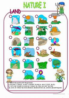 nature worksheet for kindergarten 15159 nature elements land matching worksheet free esl printable worksheets made by teachers