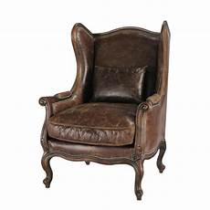 fauteuil à oreilles leather wing armchair in brown vintage maisons du monde