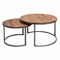 Set Of 2 Coffee Tables Metal Mango Nesting