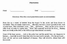 punctuation marks worksheets with answers 20839 punctuation worksheet maker sle