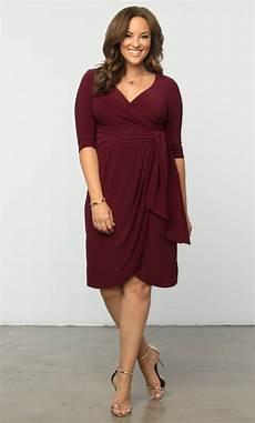 Plus Size Of The Dresses plus size knee length dress solid color wrap dress