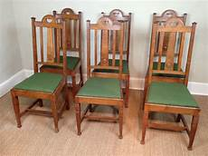 a of 6 oak arts and crafts dining chairs c 1900