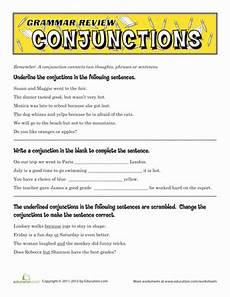 grammar review conjunctions worksheet education com