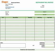 restaurant bill invoice template invoice template
