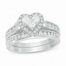 3 4 ct t w diamond heart bridal in 14k white gold