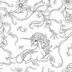 Jugendstil Malvorlagen Vintage Seamless Pattern Background With Unicorn And Vintage