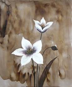 peinture moderne fleurs blanches tableau toile fleur blanche