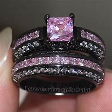 choucong brand design pink stone 5a zircon stone 10kt black gold filled engagement wedding band