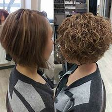 before and after perm on inverted bob style short curly