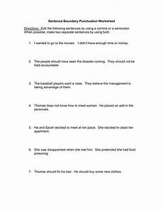 sentence boundary punctuation worksheet directions edit the