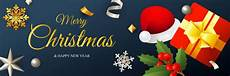 merry christmas banner design with santa hat and gift box vector free download