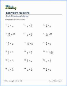 grade 4 math worksheets equivalent fractions k5 learning