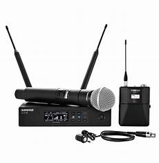 cordless microphone system shure qlxd124 85 handheld lavalier wireless microphone system