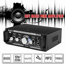 600w 12v 220v 2 Mic Stereo Speaker Mini Car Home Bass