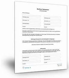 Testament Selbst Schreiben - berliner testament muster vorlage patientenverf 252 gung
