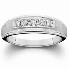 men s diamond wedding brushed ring 10k white gold ebay